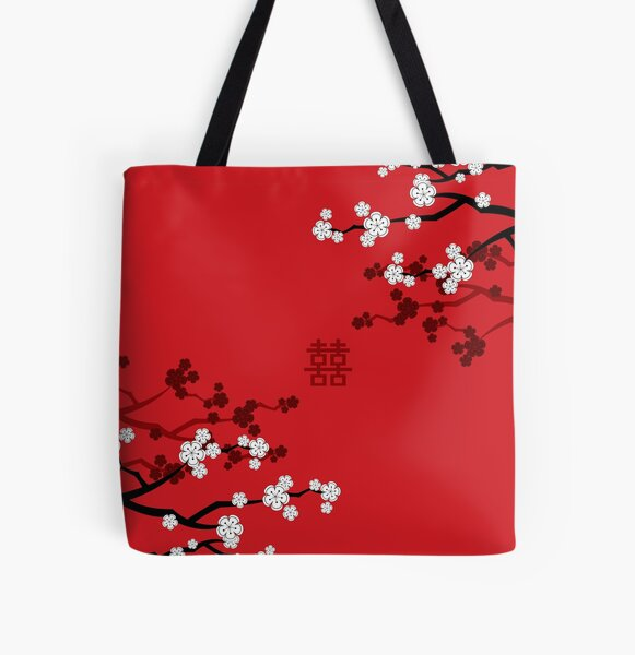 White Oriental Cherry Blossoms on Red and Chinese Wedding Double Happiness | Japanese Sakura © fatfatin  All Over Print Tote Bag