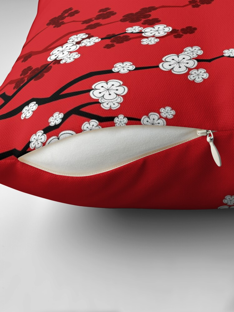 Alternate view of White Oriental Cherry Blossoms on Red and Chinese Wedding Double Happiness | Japanese Sakura © fatfatin  Throw Pillow