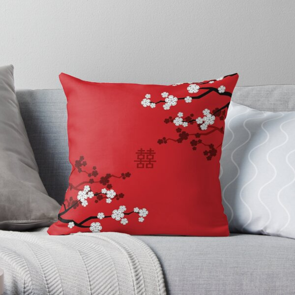 White Oriental Cherry Blossoms on Red and Chinese Wedding Double Happiness | Japanese Sakura © fatfatin  Throw Pillow