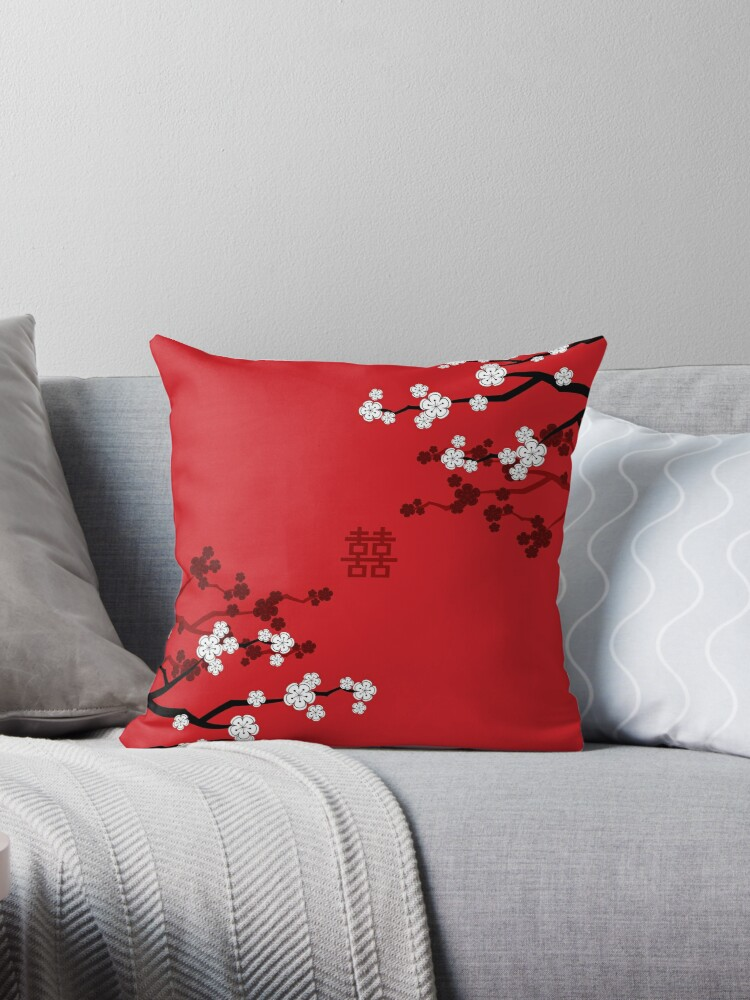 White Oriental Cherry Blossoms on Red and Chinese Wedding Double Happiness | Japanese Sakura  by fatfatin