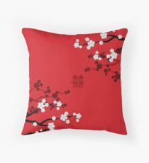 White Oriental Cherry Blossoms on Red and Chinese Wedding Double Happiness | Japanese Sakura  Throw Pillow
