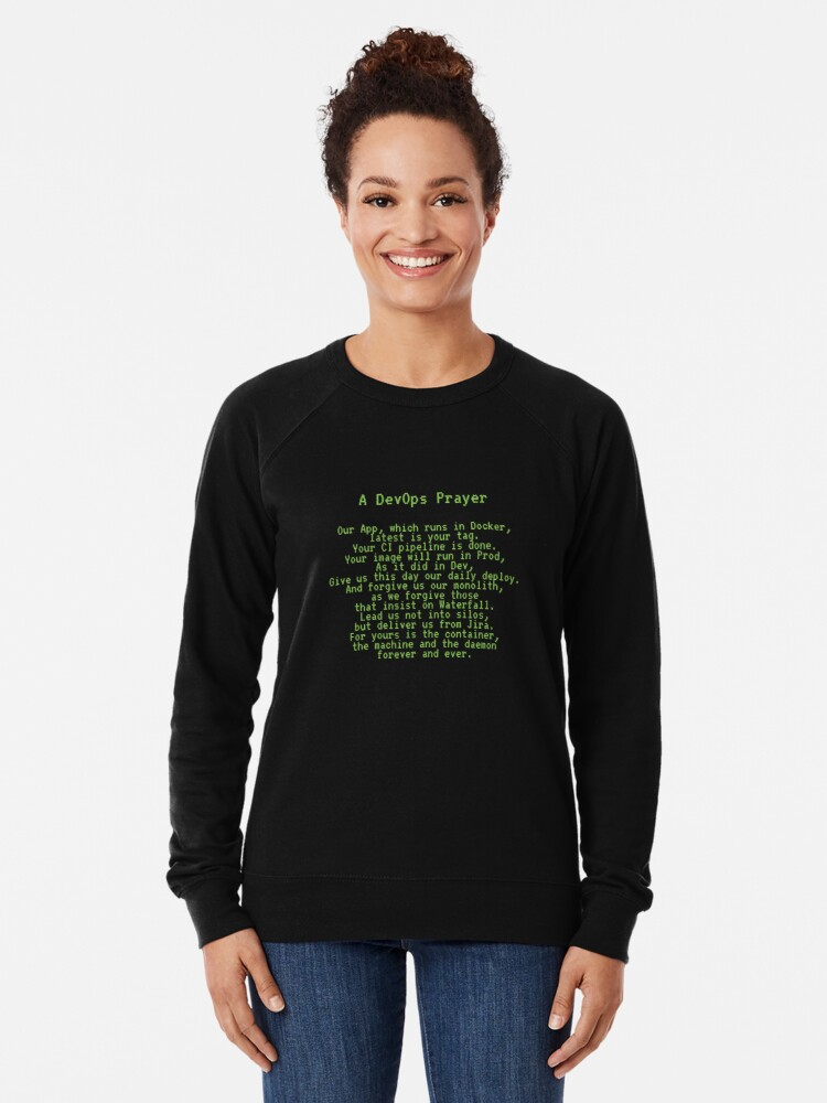 Alternate view of A DevOps Prayer Lightweight Sweatshirt