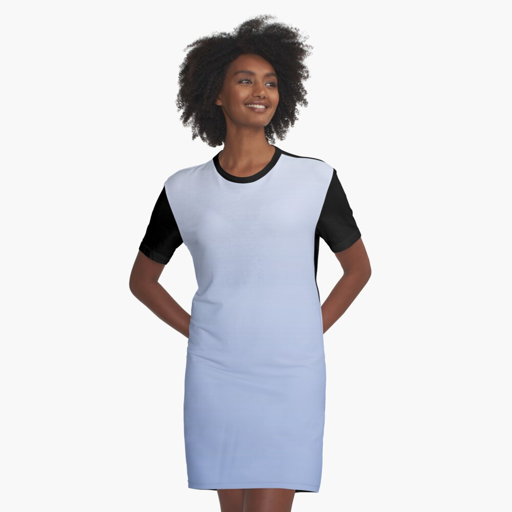Bright Serenity blue ombre Graphic T-Shirt Dress Front