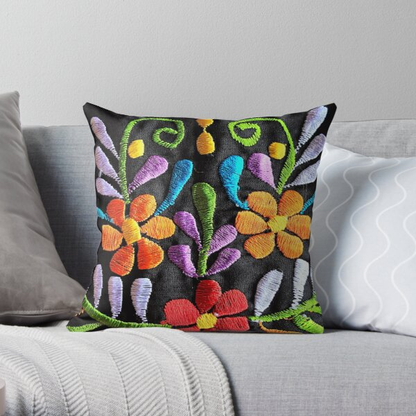 Mexican Flowers Embroidery Throw Pillow