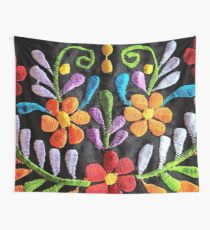 Mexican Flowers Embroidery Wall Tapestry