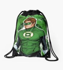 Green Super Hero Drawstring Bag