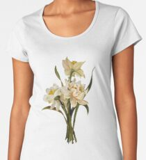 Double Narcissi In A Bouquet Isolated Women's Premium T-Shirt