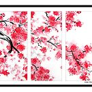 Cherry Blossom Tryptich by Kathie Nichols