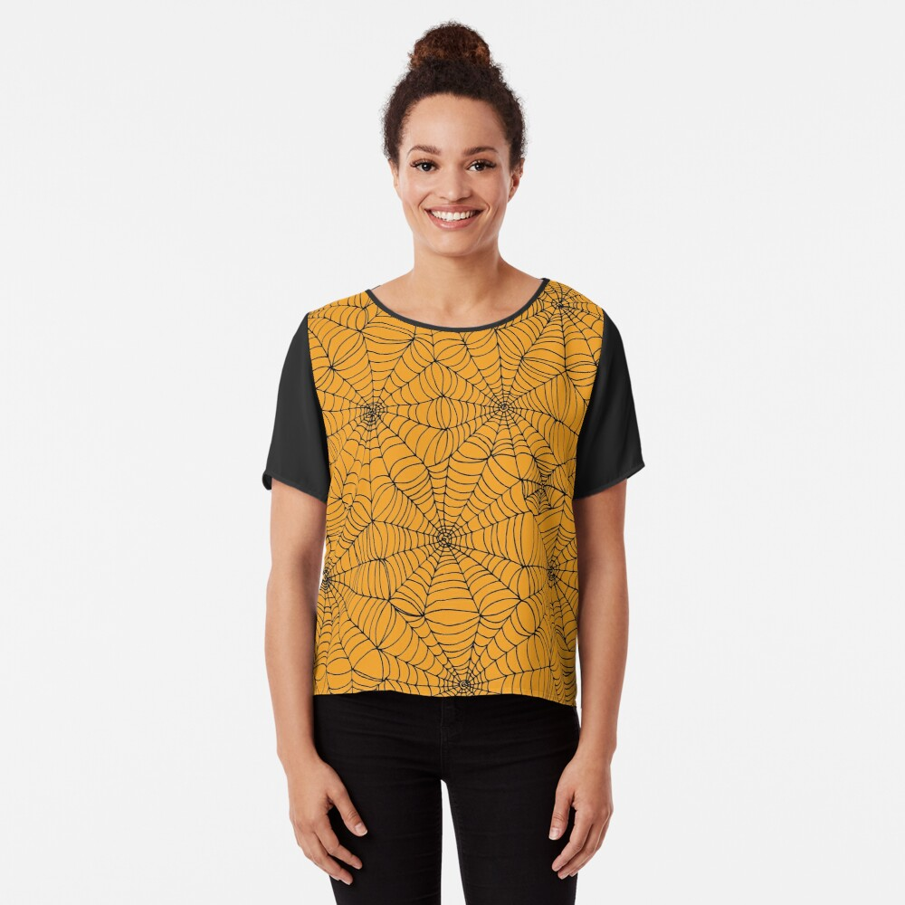Spider Web Pattern - Black on Orange - Halloween pattern by Cecca Designs Chiffon Top