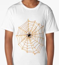 Spider Web Pattern - Black on Orange - Halloween pattern by Cecca Designs Long T-Shirt