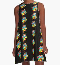 Puzzling Rubik's Cube  A-Line Dress