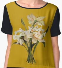 Double Narcissi Bouquet Vector Chiffon Top
