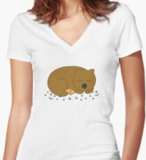 Wombat Dreaming Women's Fitted V-Neck T-Shirt