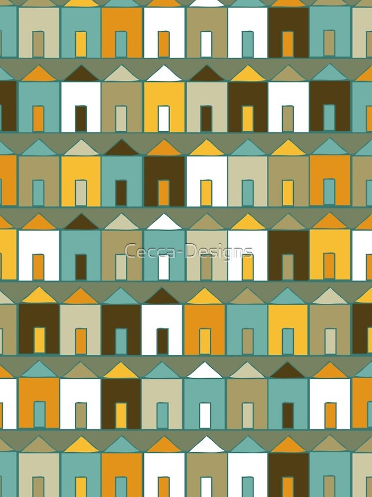 Beach Huts - Teal and Mustard - geometric pattern by Cecca Designs by Cecca-Designs