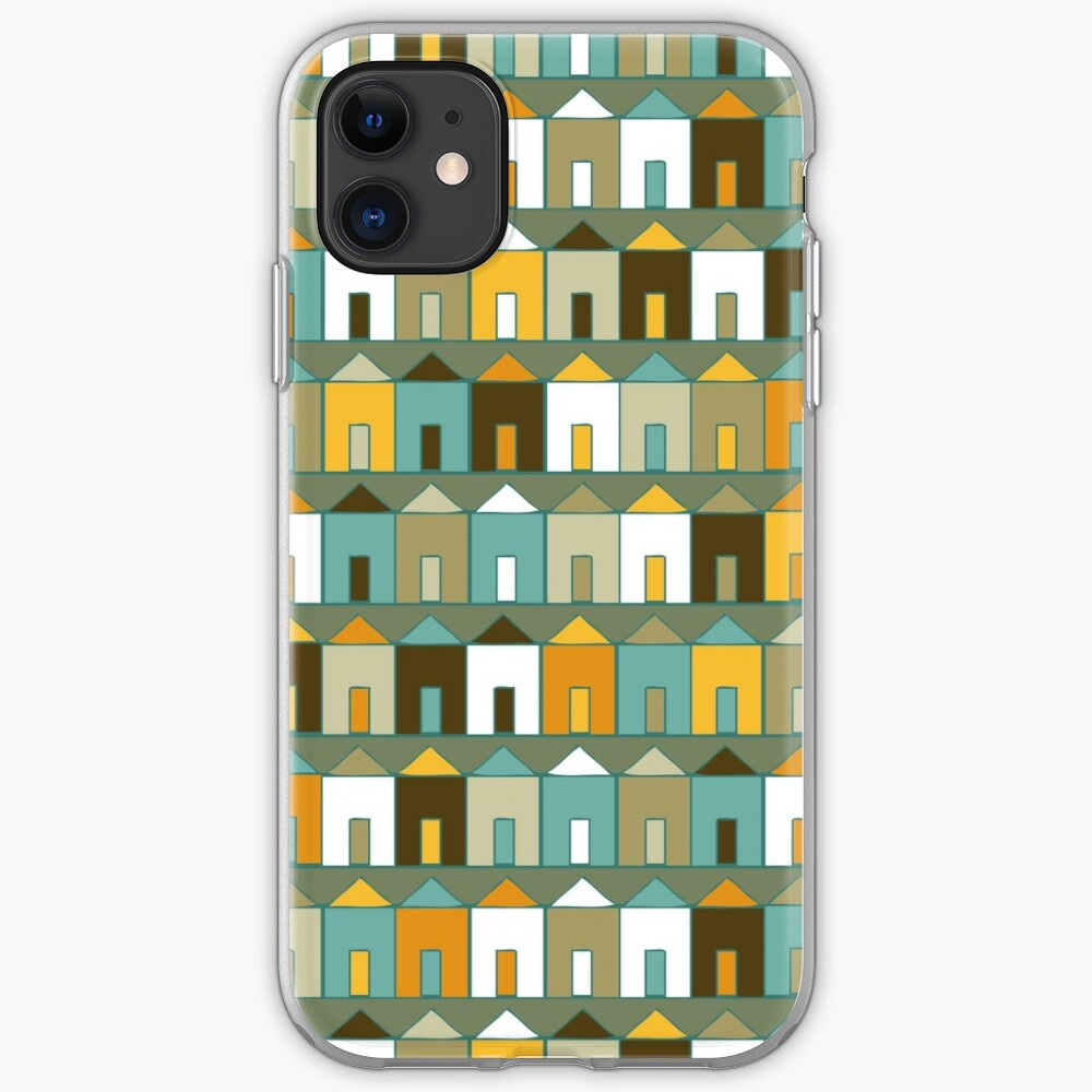 Beach Huts - Teal and Mustard - geometric pattern by Cecca Designs iPhone Case & Cover