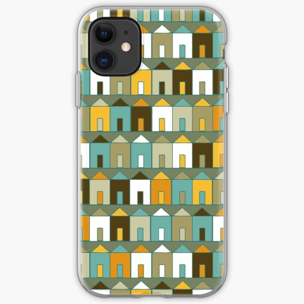 Beach Huts - Teal and Mustard - geometric pattern by Cecca Designs iPhone Soft Case