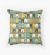 Beach Huts - Teal and Mustard - geometric pattern by Cecca Designs Throw Pillow