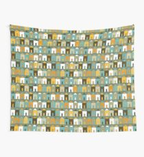 Beach Huts - Teal and Mustard - geometric pattern by Cecca Designs Wall Tapestry