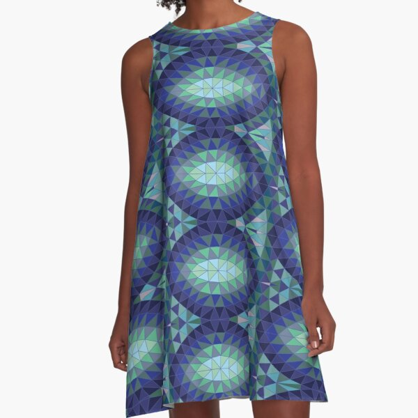 Geodesic Marquise - sapphire - Geometric pattern by Cecca Designs A-Line Dress