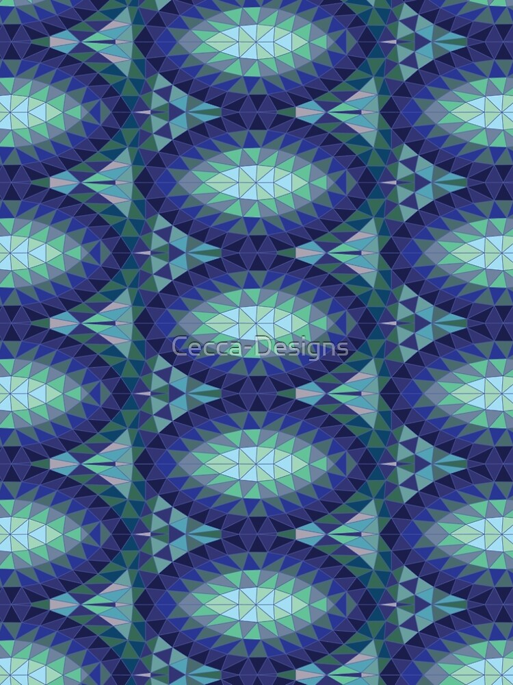 Geodesic Marquise - sapphire - Geometric pattern by Cecca Designs by Cecca-Designs