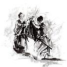 SAMURAI FIGHT, BUSHIDO, WAY OF THE WARRIOR poster, print by Mariusz Szmerdt