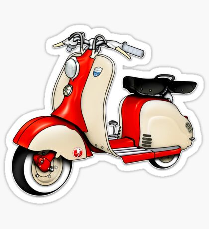 Scooter T-shirts Art: 1955 Lambretta LD 150 Reb and white Sticker
