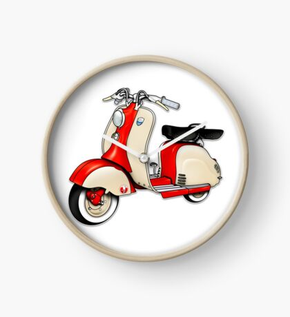 Scooter T-shirts Art: 1955 Lambretta LD 150 Reb and white Clock