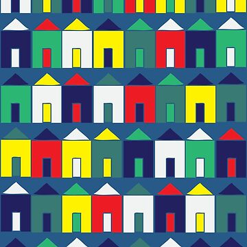 Beach Huts - Blue, Red, White and Yellow - fun pattern by Cecca Designs by Cecca-Designs