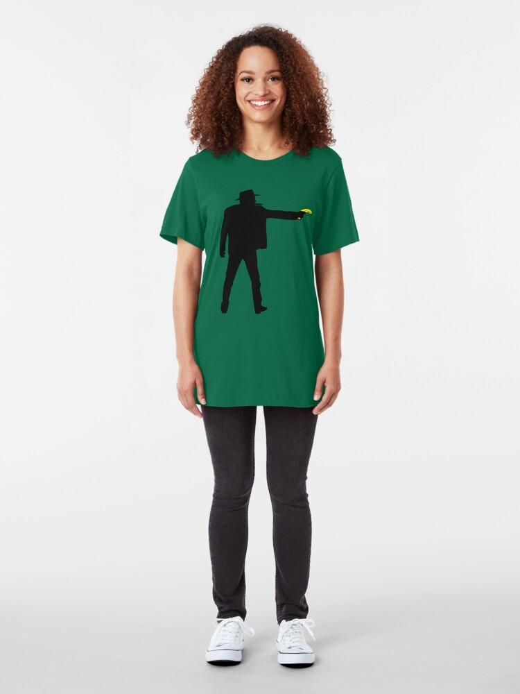 Alternate view of Real Cowboys Shoot Bananas! Slim Fit T-Shirt