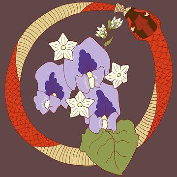 Floral Ouroboros by EEBlu