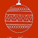 Merry Christmas - white bauble on red by badlydoodled