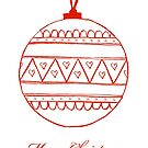 Merry Christmas - red bauble on white by badlydoodled
