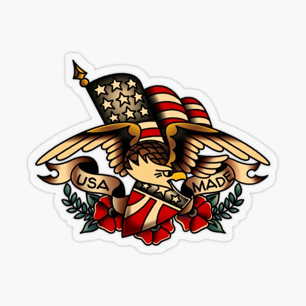 USA Made Patriotic Eagle Transparent Sticker