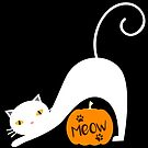 Halloween White Cat Meow by catloversaus