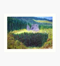 Elibank Castle, Tweed Valley below Walkerburn  Art Print