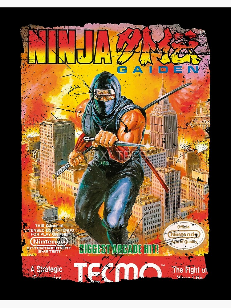 Ninja Gaiden Nes Cover Art Board Print By Pixltees Redbubble