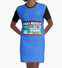 Rocky Mountain National Park Grand Lake and Mt. Baldy Vintage Decal Graphic T-Shirt Dress
