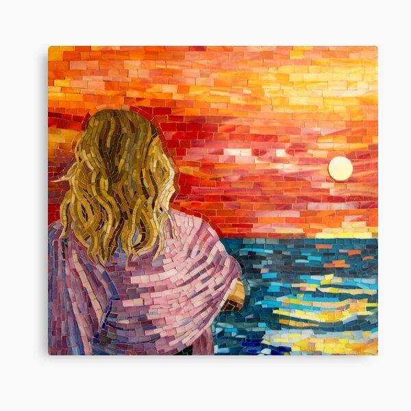 Mediterranean Sunset mosaic art Metal Print