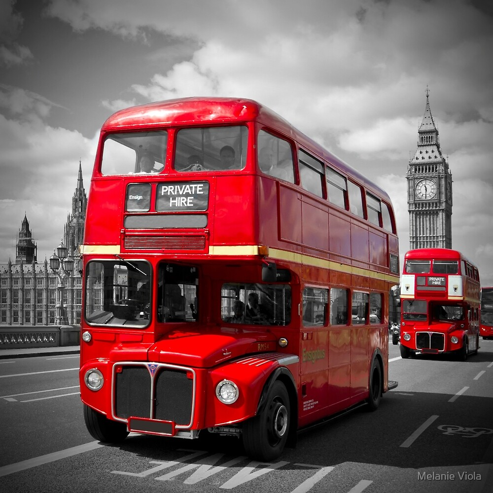 LONDON Red Buses on Westminster Bridge by Melanie Viola