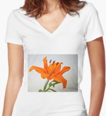Orange Lily 2 Women's Fitted V-Neck T-Shirt