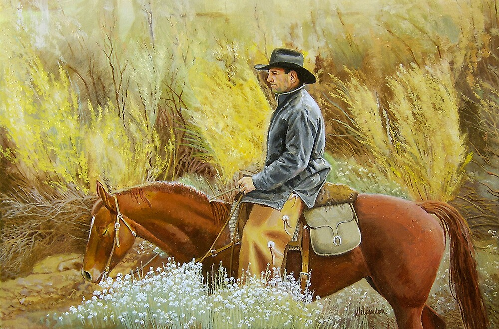 Cowboy in the Mountain Long Sage by Ronald Wilkinson