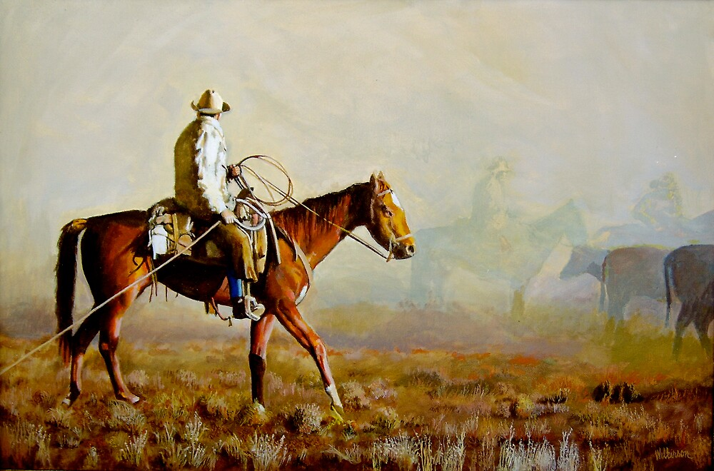 Dust Storm Hits the Cattle Drive by Ronald Wilkinson