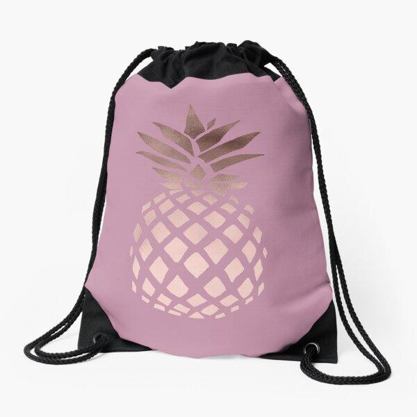 Elegant rose gold pineapple  Drawstring Bag