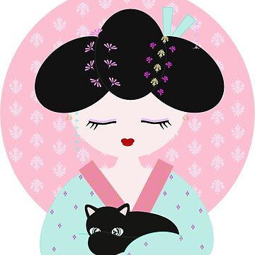 pastel colors Geisha with black cat by serelagatta