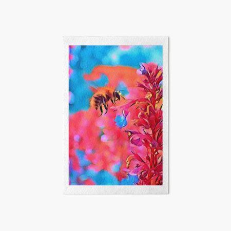 Honey Bee Landing on a Penstemon Flower Art Board Print