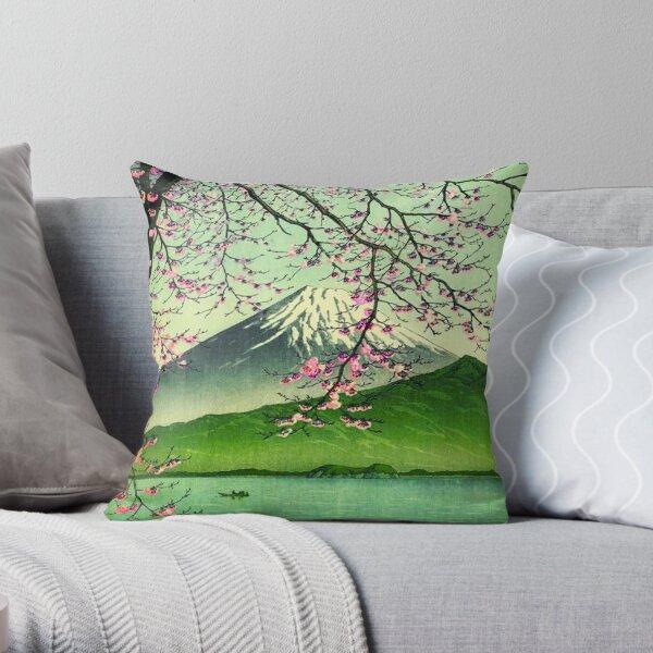 Mount Fuji & Cherry Blossoms Throw Pillow