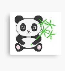Funny cross-stitch design panda and bamboo Canvas Print