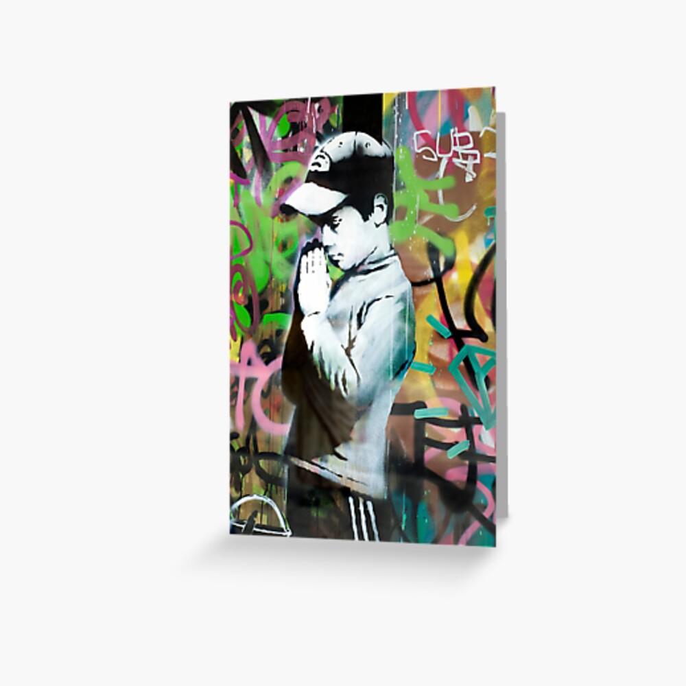 Banksy Gebet Grußkarte