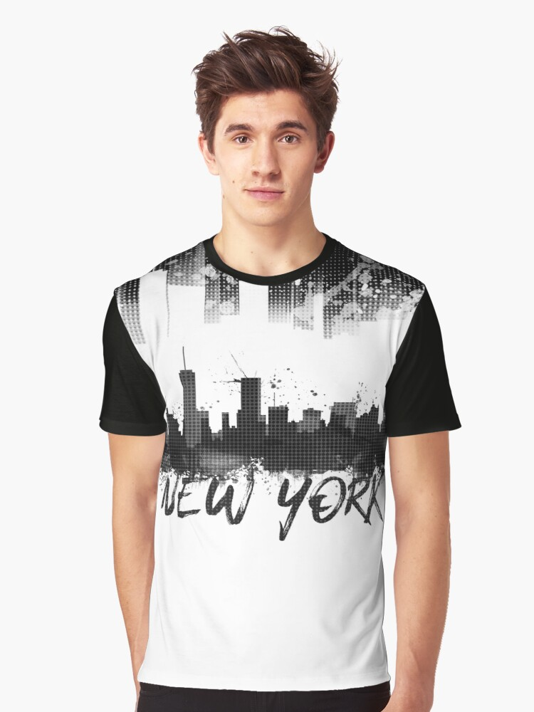 Graphic Art NYC Skyline Splashes | black von Melanie Viola