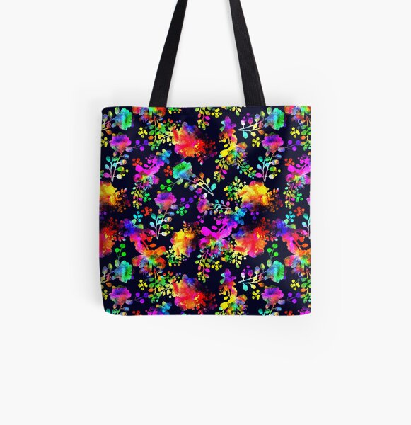 Watercolor bright teen modern art flower All Over Print Tote Bag
